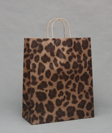 Wholesale Leopard Print Paper - Leopard Grain,Zebra Brown paper bags Paper Gift Bag With Handle Wedding Party Favor Gift Wrap Birthday Gift Packaging 30pcs lot