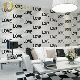 Wholesale Proof Love - Wholesale-Pink Yellow Black And White Flocking Embossed Love Letters 3D Wallpaper Modern Simple Bedroom Home Decor Wall paper Rolls