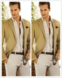 Wholesale Men S Beach Wedding - Wholesale- 2016 Summer Handsome Men Suits Beach Wedding Prom Tuxedos Notch Lapel Groomsman Suit Custom Made 2 Pieces Jacket+Pants