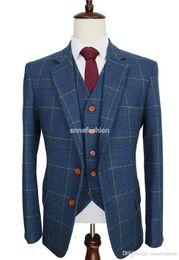 Wholesale Custom Blazers For Men - 2016 Wool Blue Check Tweed Custom Made Men suit Blazers tailor made slim fit wedding suits for men 3 piece