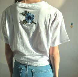 Wholesale Cotton Clothes Summer - tshirt Women Couples Clothes T Shirt 2017 Summer Short Sleeve Female Embroidery Rose t-shirt harajuk Tops tee shirt femme