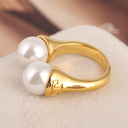 Wholesale Gold Plated Knuckle Rings - Hot sale tory bu brass material Opening Ring Mid Finger Knuckle Rings with pearl 1.1cm beads spring combination Rings Geometry Style Jewelry