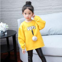 Wholesale China Sweatshirts - China wholesale 2017 cute winter big child clothes long sleeve thick warm girls pullover sweatshirt fleece yellow brown pink 120-160cm
