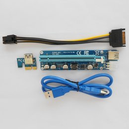 Wholesale Ide Adapter Card - 2017 Newest Ver008C 60CM PCI Express PCI-E 1X to 16X Riser Card Extender PCIE Adapter + USB 3.0 Cable & 15Pin SATA to 6Pin IDE Power Cord