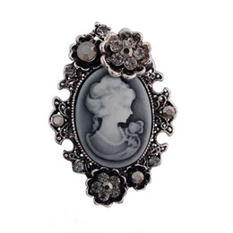 Wholesale Victorian Brooches - Fashion Crystal Rhinestone Flower Vintage Style Fashion Victorian Style Cameo Brooch Lady Scarf Brooch Pins Lots 10 Pcs