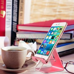 Wholesale Smartphone Tablet Stand Holder - Watching Videos Reading News Silver Gold Rose-gold Metal Desktop Cell Phone Holder Smartphone Stand Bracket Mobile Tablet Lazy Bracket