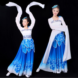 Wholesale Chinese Folk Dancing Costumes - Classical Tang Dynasty Hanfu Ancient Stage Dance Wear Chinese traditional Folk Dance dress Women Oriental Elegant Dance Costumes
