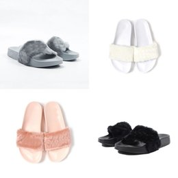Wholesale Cheapest Leather Slippers - Grey Black Pink White Cheap Slippers Leadcat Fenty Rihanna Shoes Women Slippers Indoor Sandals Girls Fashion Scuffs Send With Original Boxes