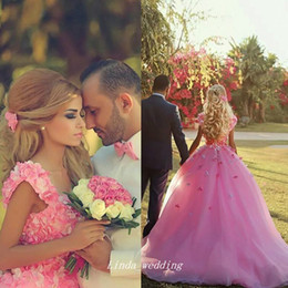 Wholesale Green Fairy Pictures - Cute Pink Handmade Made Flowers Prom Dress Custom Made New Fairy Petals Ball Gown Long Party Gown Plus Size