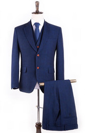 Wholesale Herringbone Wool Suit Jacket - Wholesale- Wool Blue Herringbone Retro gentleman style custom made Men's suits tailor suit Blazer suits for men 3 piece (Jacket+Pants+Vest)