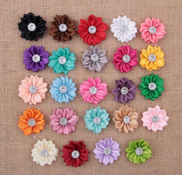 Wholesale Ribbon Baby Headbands - 3.5cm Mini Satin Fabric Flower for Headbands DIY Ribbon Polygonal Flowers Rhinestone In Center Baby Girl Hair Accessory YH400