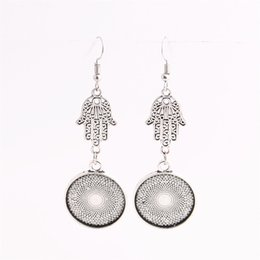 Wholesale Make Drop Earrings - SWEET BELL 12pcs lot Metal Alloy Zinc Hamsa Hand Charm Fit round 20mm Cabochon Set Pendant Drop Earing Jewelry Making C0832