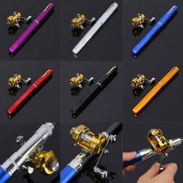 Wholesale Mini Pocket Fishing Pole - 1pc Mini Portable Aluminum Alloy Pocket Pen Shape Fish Fishing Rod Pole With Reel 6 Colors Wholesale