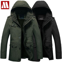 Wholesale Hooded Winter Trench Coat Men - Wholesale- manteau homme 2016 fashion hoody trench coat men winter jacket fleece hooded mens trench coats cotton Hot Selling plus size 6XL