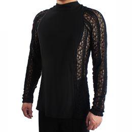 Wholesale Professional Ballroom Dancing - Hot Sale Latin Dance Shirt For Men Black Fabric Tops Male Adult Professional Clothes Salsa Square Rumba Ballroom Galop Wear 7031