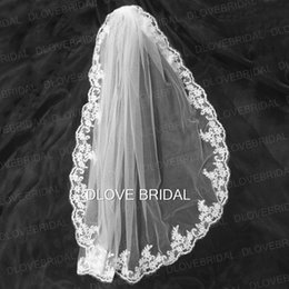 Wholesale Wedding Accessories Best Quality - High Quality White Ivory One Layer Lace Bridal Veil with Comb Factory Custom Make Wedding Veils Best Selling Hair Accessories Real Photo