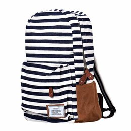Wholesale Drop Shipping Cell Phones - Wholesale- 2017 High Quality Women Backpacks Casual Double-Shoulder Stripe Canvas Backpack Schoolbag Oversize Travel Bags Drop shipping