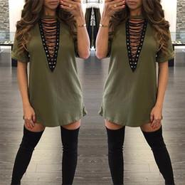 Mini-baumwoll-sommerkleider online-2017 Sexy Baumwolle Plus Größe Kleider Mode Kurzarm Herbst Sommer Beiläufige Lose V-ausschnitt Mini T-Shirt Kleid Frauen Kleidung Freies Verschiffen