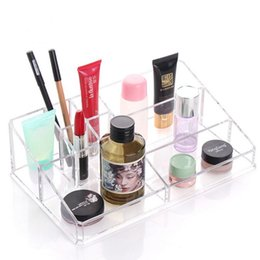Wholesale Office Flashing - Crystal Acrylic Cosmetic Organizer Box Clear Flashing Makeup case Jewelry Cosmetic Storage holder Display Stand Rack Holder