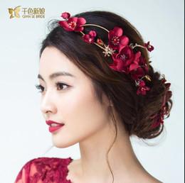 Wholesale Korean Red Dress Accessories - Thousands of colors bride Qun Yun Korean bridal headdress red simulation flower hairpin handmade wedding dress dress hair accessories