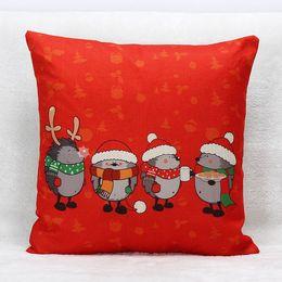 Wholesale Hedgehog Pillows - Hot Sale Christmas Hedgehog Deer Cushion Cover 12 Styles Party Time Pillow Cover Wholesale Thin Linen Pillow Case 45X45cm Bedroom Sofa Decor