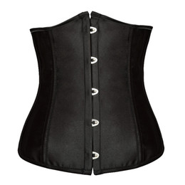 Wholesale Satin Lingerie Tops - Free shipping!! Goth Satin Black Corsets Sexy Lingerie Women Steel Waist Training Underbust Bustiers Plus Size Corselets Top 8192