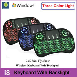 Wholesale Wholesale For 15 - Rii I8 + Wireless Backlight Mini Keyboard Air Mouse Multi-Media Remote With Touchpad Handheld For S905X S912 RK3229 R TV Box MXQ Pro A95X