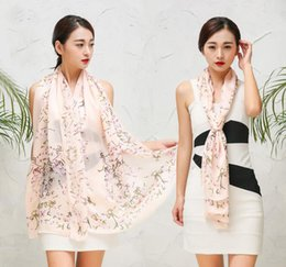 Wholesale Long Scarves For Summer - High quality 100% mulberry natural silk scarf shawl hijab wrap women female long style spring summer Autumn winter for focus on fine ladies'