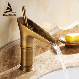 Wholesale Tap Water Color - Multi-color Modern Open Spout Water Tap Bathroom Sink Faucet Contemporary Antique Brass Faucets Mixer Taps Free Shipping 6088F