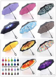 Wholesale Blue Sky Umbrella Clouds - C Handle Inverted Umbrellas Blue Sky Clouds Galaxy Umbrella Double Layer Windproof Inside Out Umbrella Reverse Umbrella for Car Outdoor