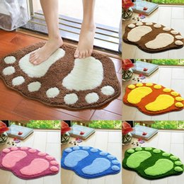 Wholesale Cute Mats - Wholesale-2016 Fashion cute bathroom carpet Footprints big feet Flocking water absorbent non-slip door mat Pad Rug tapete banheiro Y1S1