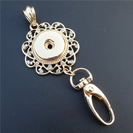 Wholesale Zinc Alloy Pendants Rose Gold - Rose Gold Rhinestone Flower Key Chains Noosa Chunks Metal Ginger 18mm Snap Buttons Pendant Keyring 3.8*9cm Jewelry