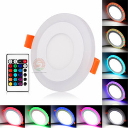 Wholesale led panel remote - Acrylic Dimmable Dual Color White RGB Embeded LED Panel Light 6W 9W 18W 24W Downlight Recessed Lights Indoor Lighting With Remote Controller