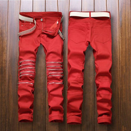 Wholesale Stylish Men Trousers - Wholesale-2016 New Men Stylish Ripped Jeans Pants Biker Classic Skinny Slim Straight Denim Trousers Men's Long Red Pants