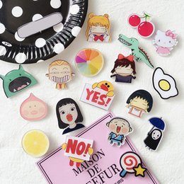 Wholesale Resin Figure Female - 2017 new cute cartoon acrylic badge beautiful brooch female children fashion accessories free shipping wholesale hot