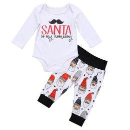 Wholesale Santa Baby Romper - 2017 Christmas Baby Rompers Childrens Clothing Sets Boys Girls Santa Newborn Onesies Pants 2Pcs Set Cotton Toddler Romper Boutique Clothes