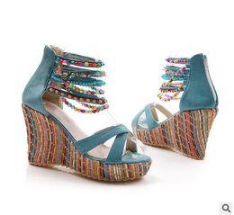 Wholesale Beaded Platform Sandals - 2016 fashion new Bohemia beaded sandals female wedge platform shoes gladiator ankle strap elegant women high heel sandals