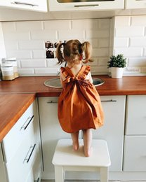 Wholesale Europe Retail - Retail 2017 spring and summer new ultra-cute pumpkin color small dress halter Europe and the United States girls vest skirt baby dress