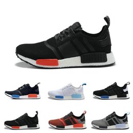 Wholesale Online Athletic - 2017 Cheap Online Wholesale NMD R1 Primeknit PK Men's & Women's Sports Running Shoes all black all white Best athletic shoes size 36-46