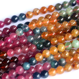 "Wholesale Bracelet Tourmaline Beads Natural - Wholesale- Genuine Natural AAA Multi-Color Mix Tourmaline Round Loose Small Beads 6mm Fit Jewelry Necklace Bracelets 15"" 04037"