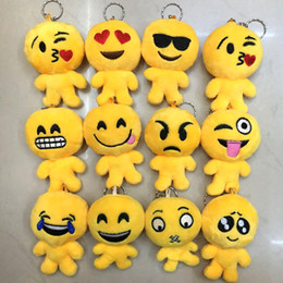 Wholesale Small Doll Hats - 17 Style Christmas gift 9x12cm QQ Emoji Smiley Pillow Small Plush Doll Keychain Pendant Emotion Yellow hat Expression Stuffed Toys Free Ship
