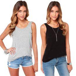Wholesale T Back Tank Tops Women - Wholesale- Women's T-Shirt Sexy Backless Black Grey Vest Tank Sleeveless Solid Back Deep V-Neck 2017 Summer Tops Female