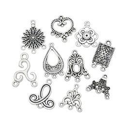 Canada Mélange Tibétain Argent Tons Charmes Pendentifs Connecteurs Charme pour la Fabrication de Bijoux Bracelet Artisanat DIY Résultats de Bijoux Offre