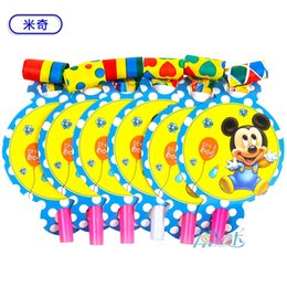Wholesale Supplier Party Supplies - Wholesale-12pcs set baby mickey birthday kids baby party paper blowout supplies kids birthday suppliers girls Theme Supplies Decoration