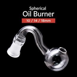 Tubos de água de vidro transparente on-line-Melhor tubo queimador de óleo De Vidro grosso 10mm 14mm 18mm Masculino Feminino pyrex claro queimador de óleo da curva da tubulação de água para fumar água bongs