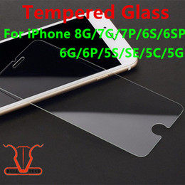 Wholesale Iphone 5c Front Glass - For iPhone 8 Plus X Tempered Glass Screen Protector For Iphone 7 Plus 6 5 5S 5C SE Film 2.5D 9H Hardness Anti-shatter Package