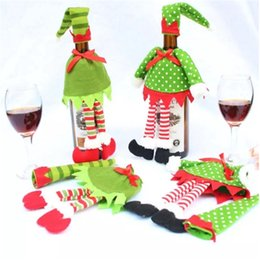 Wholesale christmas elf clothes - 2PCS Christmas Elf Red Wine Bottle Sets Cover with Christmas Hat and Clothes for Christmas Dinner Decoration Home Halloween Gift 2017092115