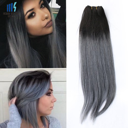 Wholesale Two Toned Indian Remy Hair - 300g Two Tone T 1B Dark Grey Ombre Human Hair Weave Bundles Good Quality Colored Brazilian Peruvian Malaysian Indian Straight Hair Extension
