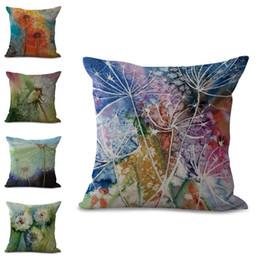 Wholesale flower throw pillow - Colors Flower Dandelion Pillow Case Cushion Cover Linen Cotton Throw Pillowcases Sofa Car Decorative Pillowcover Drop Shipping PW686