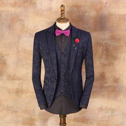 Wholesale Mens Embroidered Wedding Suits - Men's Vintage Suits 2017 Mens Floral Blazer Blue Embroidered Pattern Suit Jacket Grooms Wedding Slim Suit Man Prom Dresses